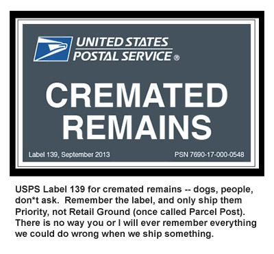 usps label 139 for cremated remains priority mail only